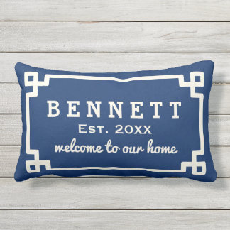 Personalized Welcome Pillow | Navy Blue