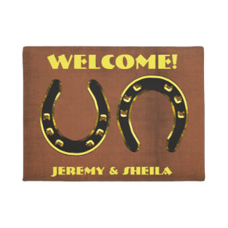 """Personalized """"Welcome"""" With Horseshoes Doormat"""