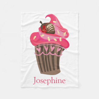 Personalized Whimsy Pink Cupcake Blanket