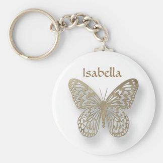 Personalized White And Gold Butterfly Key Chain