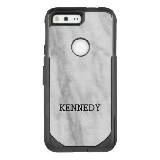 Personalized White and Gray Marble   Look OtterBox Commuter Google Pixel Case