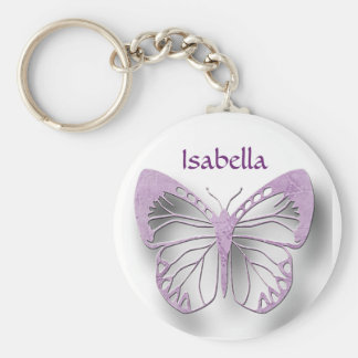 Personalized White And Purple Butterfly Key Chain