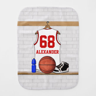 Personalized White and Red Basketball Jersey Burp Cloth