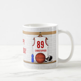Personalized White and Red Basketball Jersey Coffee Mug