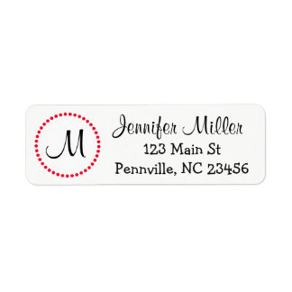 Personalized White and Red Return Address Labels