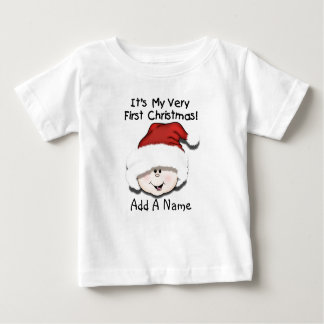 Personalized White Baby 1st Christmas Tshirt