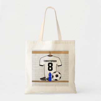 Personalized White   Black Football Soccer Jersey Tote Bags