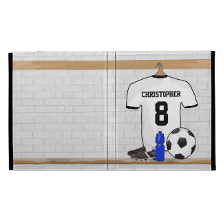 Personalized White Black Football Soccer Jersey iPad Folio Covers