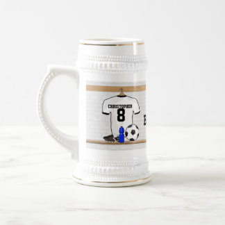 Personalized White Black Football Soccer Jersey Beer Steins