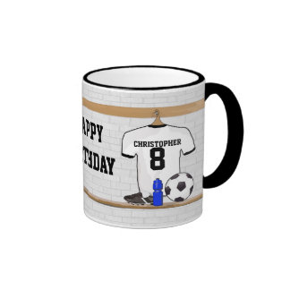Personalized White Black Football Soccer Jersey Coffee Mug
