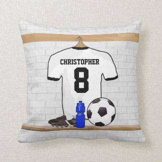 Personalized White Black Football Soccer Jersey Throw Pillow