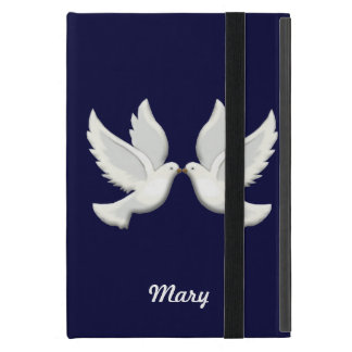 Personalized White Doves On Blue iPad Mini Case