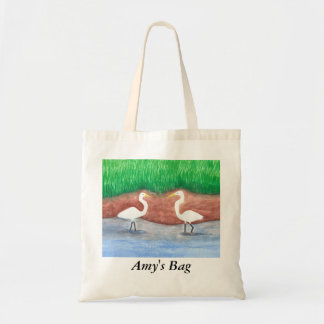 Personalized White Egrets Wading Tote Bags