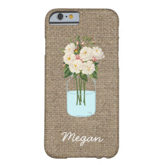 Personalized White Flower Mason Jar on Burlap Barely There iPhone 6 Case