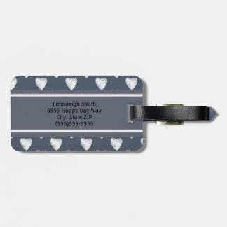 Personalized White Hearts Navy Blue Luggage Tag