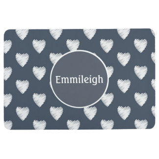 Personalized White Hearts on Navy Blue Floor Mat