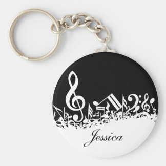 Personalized White Jumbled Musical Notes on Black Basic Round Button Keychain