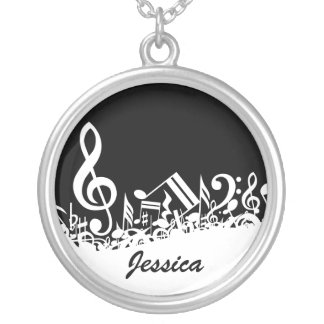 Personalized White Jumbled Musical Notes on Black Round Pendant Necklace