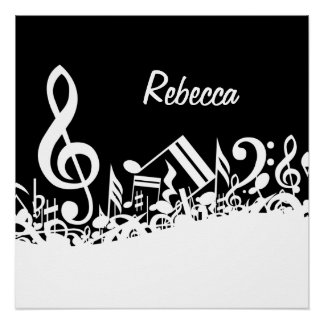 Personalized White Jumbled Musical Notes on Black Poster