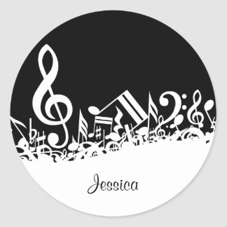 Personalized White Jumbled Musical Notes on Black Round Sticker