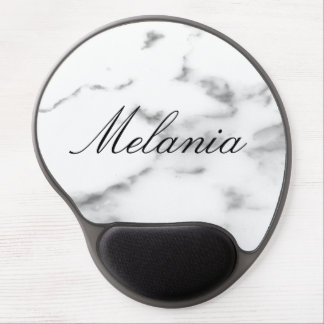 Personalized white marble stone gel mouse pad