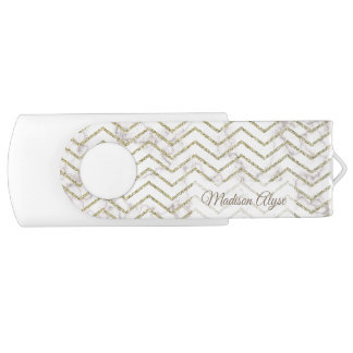 Personalized White Marble with Gold Chevron USB Flash Drive