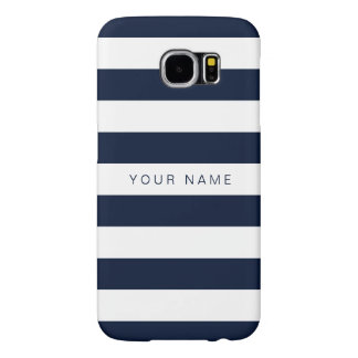 Personalized White & Navy Blue Striped