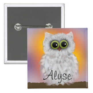Personalized White Owl Painting Button Buttons