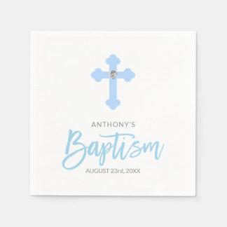 Personalized White Pastel Blue Boy Cross BAPTISM Disposable Serviette