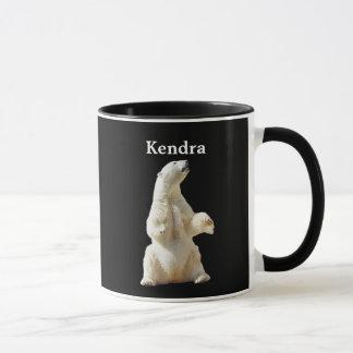 Personalized White Polar Bear On Black Mug