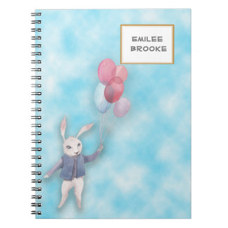 Personalized White Rabbit Floating with Balloons Spiral Notebook
