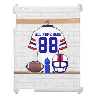 Personalized White Red Blue Football Jersey iPad Covers
