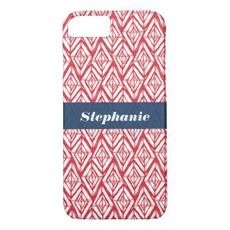Personalized White Red Blue Geometric Diamonds iPhone 8/7 Case