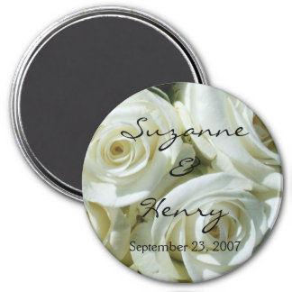 Personalized White Roses Wedding 7.5 Cm Round Magnet