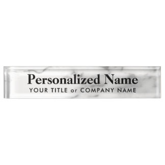 Personalized white stone marble desk nameplate