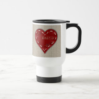 Personalized White Travel Mug with Leather Heart