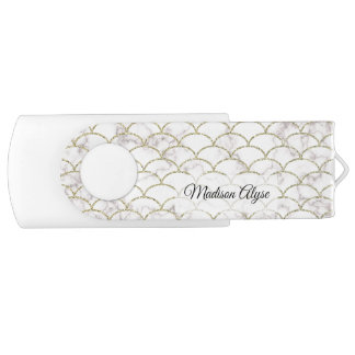 Personalized White with Gold Scales USB Flash Drive