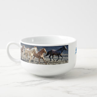 Personalized Wild Horses Running Soup Mug