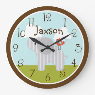 "Personalized ""Wildlife Elephant"" Nursery Clock"