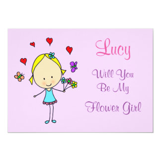 Personalized Will You Be My Flower Girl 13 Cm X 18 Cm Invitation Card
