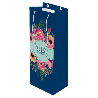 Personalized wine paper tote - Pink blooms Wine Gift Bag