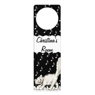 Personalized Winking White Cat on Piano Music Note Door Hanger