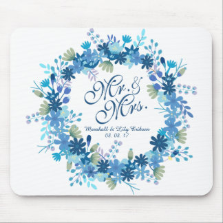 Personalized Winter Floral Wedding | Mousepad