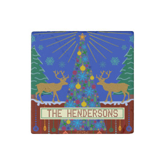 Personalized Winter Reindeer Christmas Tree Scene Stone Magnet