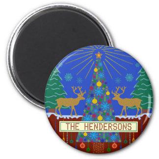 Personalized Winter Reindeer Christmas Tree Scene Fridge Magnet