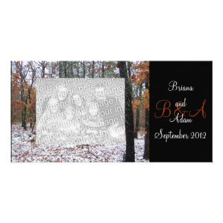 Personalized Winter Scene Frame Photocard Personalized Photo Card