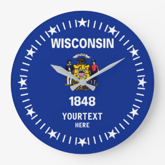 Personalized Wisconsin State Flag Design on a Wallclock