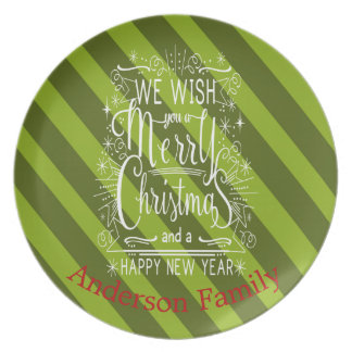 Personalized Wish You A Merry Christmas Plate