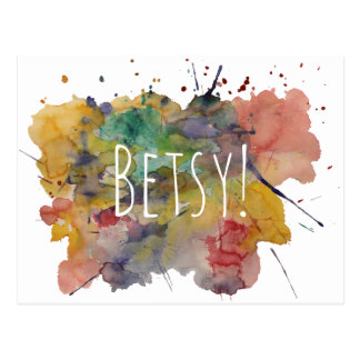 Personalized with Colorful Watercolor Splatters Postcard