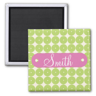 Personalized with Name Spring Green Circles Fridge Magnets